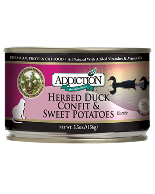 Addiction Canned Cat Food Herbed Duck Confit and Sweet Potatoes Entree
