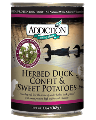 Addiction Canned Dog Food Herbed Duck Confit & Sweet Potatoes Entree