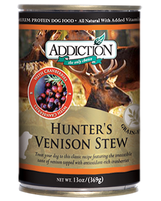 Addiction Canned Dog Food Hunter's Venison Stew