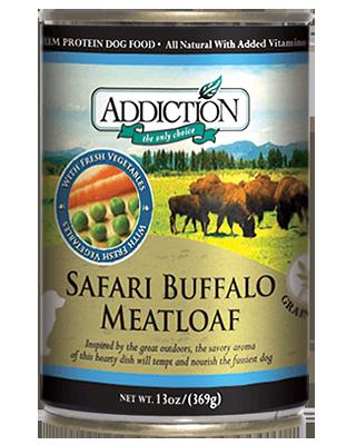 Addiction Canned Dog Food Safari Buffalo Meatloaf