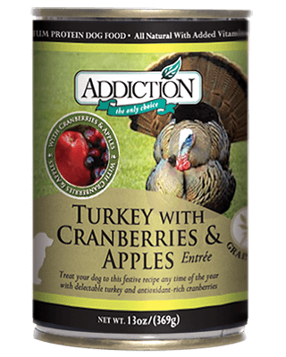 Addiction Canned Dog Food Turkey With Cranberries & Apples Entree