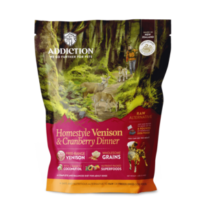 Addiction Raw Dehydrated Dog Food Homestyle Venison & Cranberry Dinner