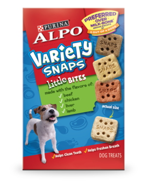 Alpo Variety Snaps Little Bites Made With Beef, Chicken, Liver, and Lamb Flavors