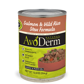 AvoDerm Adult and Puppy Dog Food Salmon and Wild Rice Stew Formula
