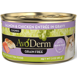 AvoDerm Growth & Maintenance Cat Food Salmon & Chicken Entree In Gravy