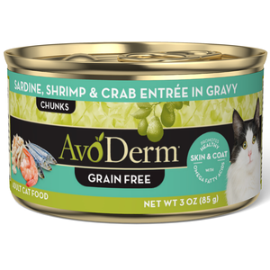 AvoDerm Adult Maintenance Cat Food Sardine, Shrimp & Crab Entree In Gravy