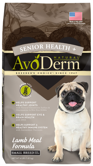 AvoDerm Senior Health+ Lamb Meal Formula For Small Breed Dogs