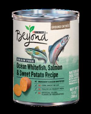 Purina Beyond Ground Entree Grain Free Ocean Whitefish, Salmon & Sweet Potato Recipe