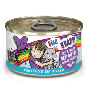 B.F.F. Best Feline Friend Oh My Gravy (OMG) Best Day Eva! - Beef & Salmon Dinner In Gravy