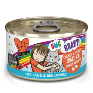 B.F.F. Best Feline Friend Oh My Gravy (OMG) Crazy 4 U - Chicken & Salmon Dinner In Gravy