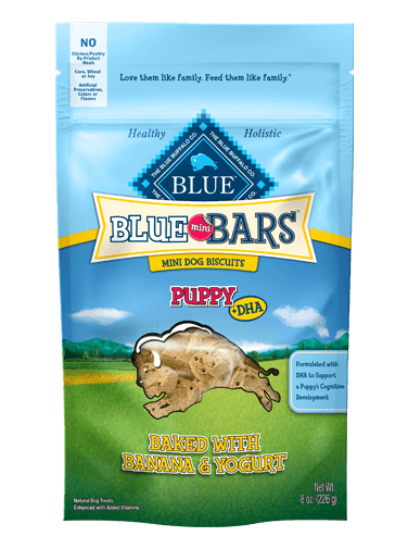 Blue Buffalo Blue Mini Bars Banana and Yogurt Biscuits For Puppies