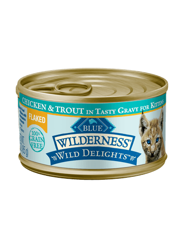 Blue Buffalo Wilderness Wild Delights Flaked Chicken and Trout In Tasty Gravy For Kittens