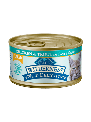 Blue Buffalo Wilderness Wild Delights Flaked Chicken and Trout In Tasty Gravy