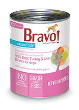 Bravo Canine Cafe 95% Beef, Turkey and Liver Dinner