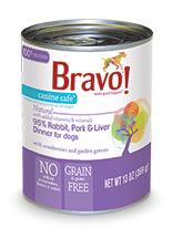 Bravo Canine Cafe 95% Rabbit, Pork and Liver Dinner