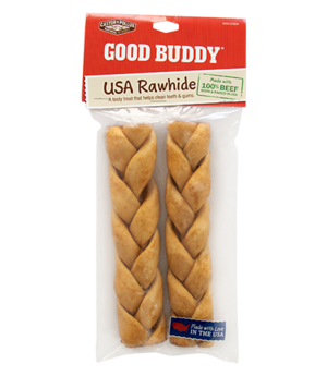 Castor & Pollux Good Buddy USA Rawhide Braided Stick With Natural Chicken Flavor