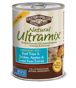 Castor & Pollux Natural Ultramix Beef Tripe & Chicken, Apples & Green Peas Entree - Grain Free Adult