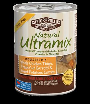 Castor & Pollux Natural Ultramix Whole Chicken Thigh, Fresh Cut Carrots & Sweet Potatoes Entree - Grain Free Adult