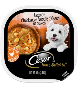 Cesar Home Delights Hearty Chicken, Noodle and Vegetables Dinner In Sauce