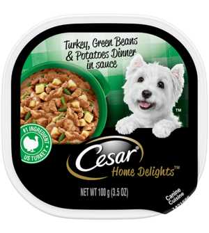 Cesar Home Delights Turkey, Green Beans and Potatoes Dinner In Sauce