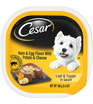 Cesar Savory Delights Ham & Egg Flavor With Potato & Cheese In Meaty Juices