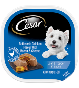Cesar Savory Delights Rotisserie Chicken Flavor With Bacon & Cheese In Meaty Juices
