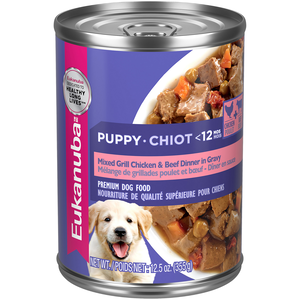 Eukanuba Canned Dog Food Mixed Grill Chicken & Beef Dinner In Gravy For Puppies