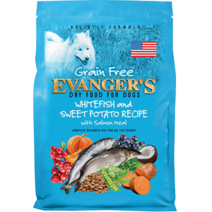 Evanger's Grain Free Dry Food Whitefish and Sweet Potato Recipe With Salmon and Venison Meal
