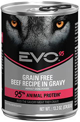 Evo 95% Animal Protein Grain Free Beef Recipe In Gravy