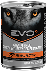 Evo 95% Animal Protein Grain Free Chicken & Turkey Recipe In Gravy