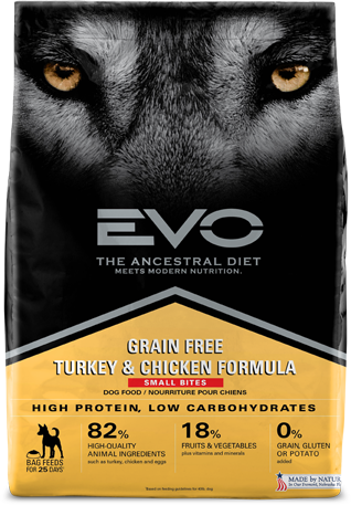Evo Grain Free Dry Dog Food Turkey & Chicken Formula - Small Bites