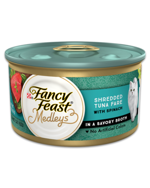 Fancy Feast Elegant Medleys Shredded Tuna Fare With Garden Greens In A Savory Broth