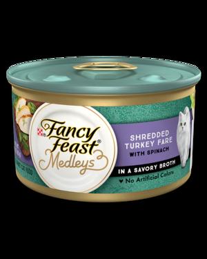 Fancy Feast Medleys Shredded Turkey Fare With Garden Greens In A Savory Broth