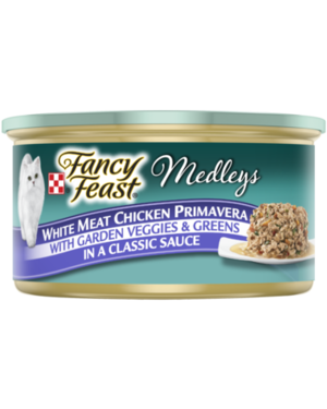 Fancy Feast Medleys White Meat Chicken Primavera With Garden Veggies & Greens In A Classic Sauce