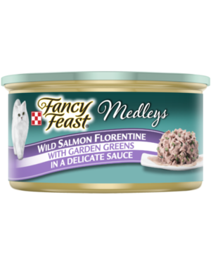 Fancy Feast Elegant Medleys Wild Salmon Florentine With Garden Greens In A Delicate Sauce