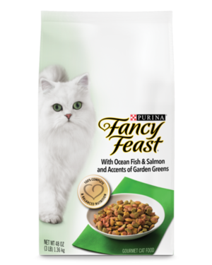 Fancy Feast Gourmet Dry With Ocean Fish & Salmon and Accents Of Garden Greens