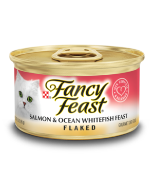 Fancy Feast Gourmet Wet Flaked Salmon and Ocean Whitefish Feast