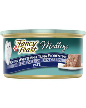 Fancy Feast Medleys Ocean Whitefish and Tuna Florentine With Cheese and Garden Greens Pate