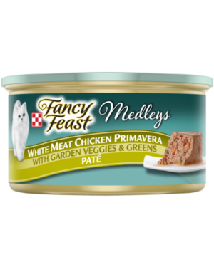 Fancy Feast Medleys White Meat Chicken Primavera With Garden Veggies and Greens Pate