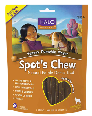Halo Spot's Chew - Small/Medium Yummy Pumpkin Flavor Dental Treat