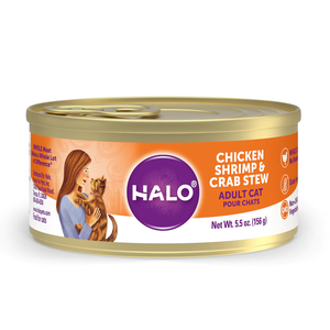 Halo Spot's Stew Grain Free Adult Cat Chicken, Shrimp & Crab Recipe
