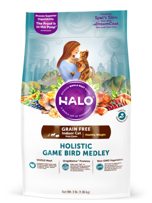 Halo Grain Free Indoor Cat Healthy Weight Holistic Game Bird Medley