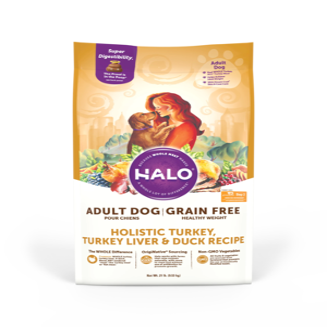 Halo Grain Free Adult Dog Healthy Weight Holistic Turkey, Turkey Liver & Duck Recipe