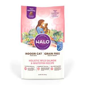 Halo Grain Free Indoor Cat Healthy Weight Holistic Wild Salmon & Whitefish Recipe