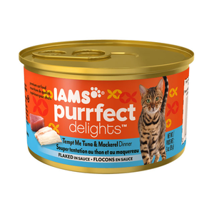 Iams Purrfect Delights Tempt Me Tuna & Mackerel Dinner Flaked In Sauce
