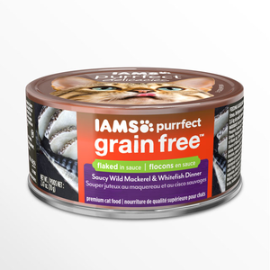 Iams Purrfect Grain Free Saucy Wild Mackerel & Whitefish Dinner Flaked In Sauce