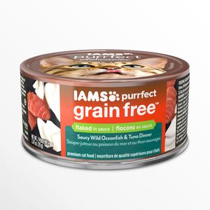 Iams Purrfect Grain Free Saucy Wild Oceanfish & Tuna Dinner Flaked In Sauce