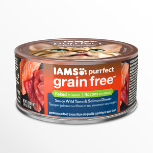 Iams Purrfect Grain Free Saucy Wild Tuna & Salmon Dinner Flaked In Sauce