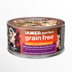 Iams Purrfect Grain Free White Meat Chicken Breast & Beef Recipe Shreds In Sauce