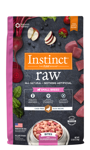 Instinct Raw Bites Plus Superfoods Duck Recipe For Small Breed Dogs